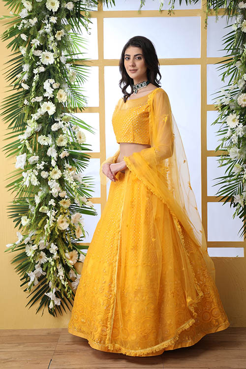 Mustard Yellow Color With Net Fabric Embroidered Lehenga Choli With Dupatta (4)