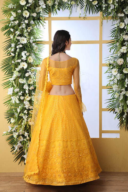Mustard Yellow Color With Net Fabric Embroidered Lehenga Choli With Dupatta (5)