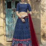 Navy Blue Art Silk Digital Printed Semi Stitched Lehenga Choli (1)