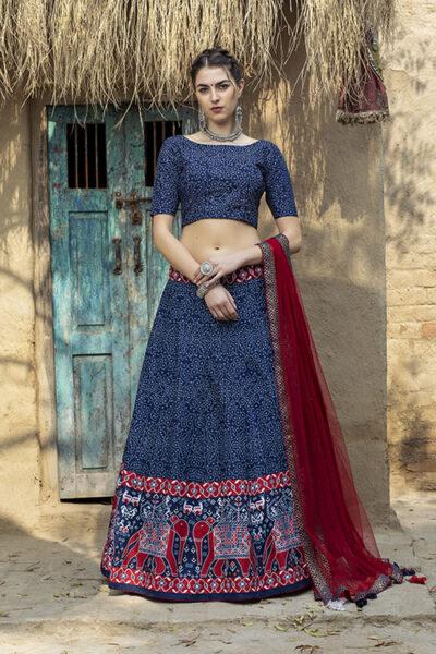 Navy Blue Art Silk Digital Printed Semi Stitched Lehenga Choli