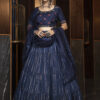 Navy Blue Jacquard Weaving Semi Stitched Collection