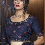Navy Blue Jacquard Weaving Semi Stitched Collection (1)