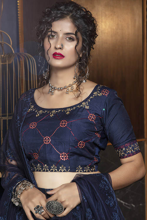 Navy Blue Jacquard Weaving Semi Stitched Collection (2)