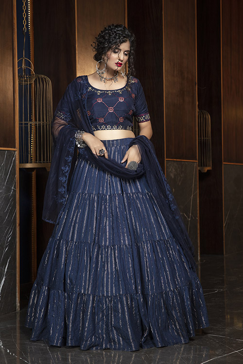 Navy Blue Jacquard Weaving Semi Stitched Collection (3)
