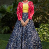 Navy Blue Lehenga Choli with Pink Contrast Exclusive Stylish Koti Collection