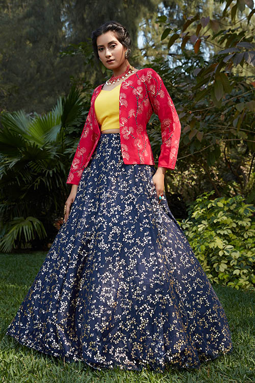 Navy Blue Lehenga Choli with Pink Contrast Exclusive Stylish Koti Collection (2)