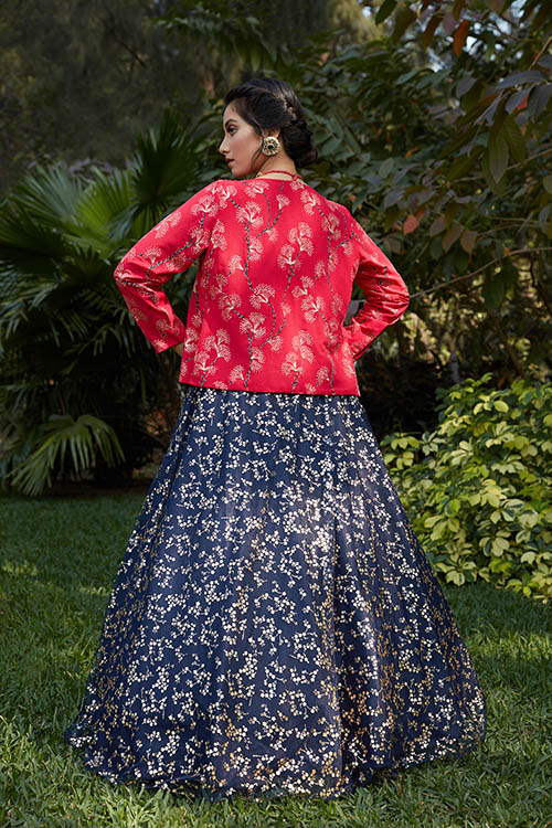 Navy Blue Lehenga Choli with Pink Contrast Exclusive Stylish Koti Collection (4)