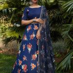 Navy Blue Printed Designer Lehenga Choli (1)