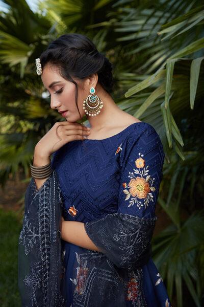 Navy Blue Printed Designer Lehenga Choli