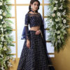 Navy Blue Sequnice Embroiered Work With Semi Stitched Collection
