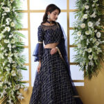 Navy Blue Sequnice Embroiered Work With Semi Stitched Collection (1)