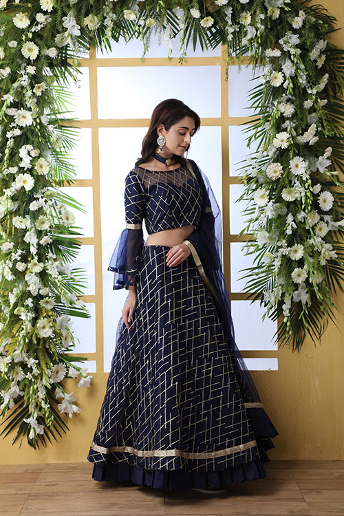 Navy Blue Sequnice Embroiered Work With Semi Stitched Collection (2)