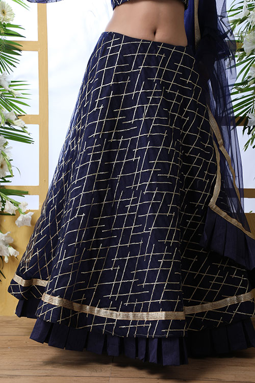 Navy Blue Sequnice Embroiered Work With Semi Stitched Collection (4)