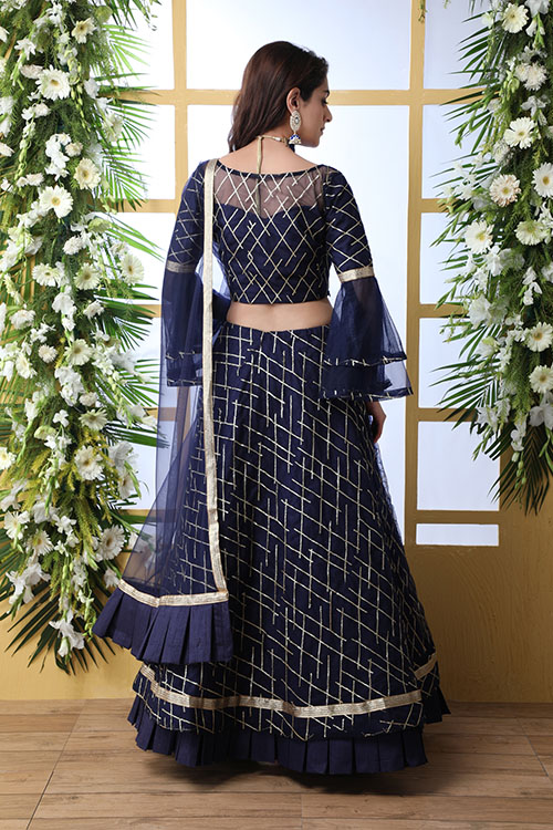 Navy Blue Sequnice Embroiered Work With Semi Stitched Collection (5)