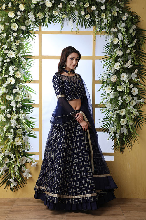 Navy Blue Sequnice Embroiered Work With Semi Stitched Collection (6)