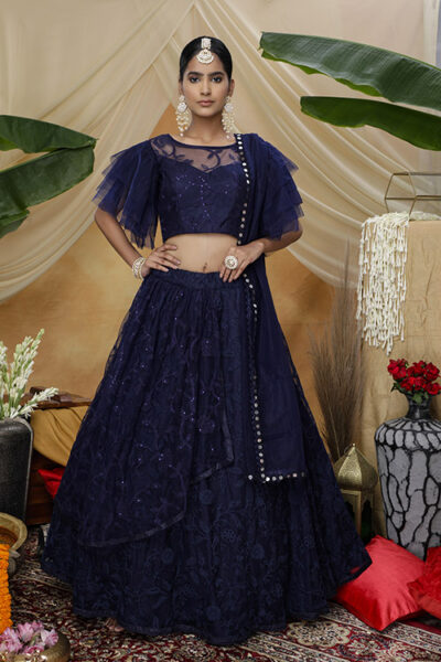 Navy Color Net Tread with Sequnice Embroiered Semi Stitched Lehenga Choli