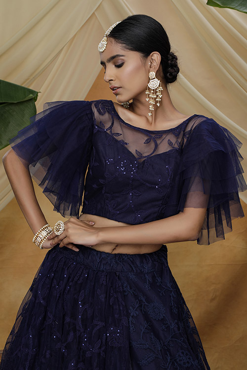 Navy Color Net Tread with Sequnice Embroiered Semi Stitched Lehenga Choli (2)