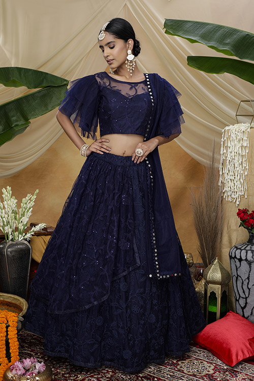 Navy Color Net Tread with Sequnice Embroiered Semi Stitched Lehenga Choli (3)