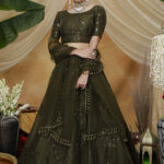 Olive Color Thread Embroiered Lehenga Choli Collection (1)