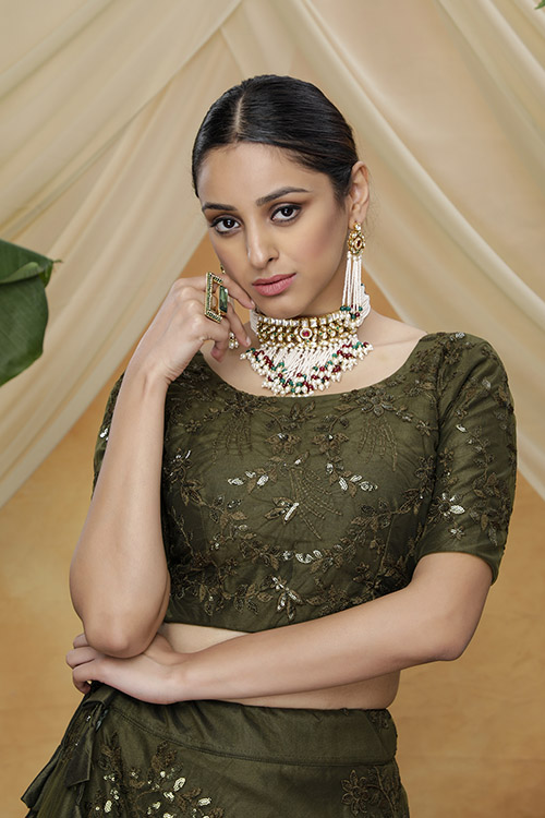 Olive Color Thread Embroiered Lehenga Choli Collection (2)