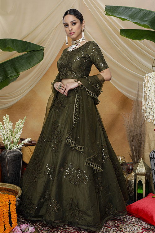 Olive Color Thread Embroiered Lehenga Choli Collection (3)