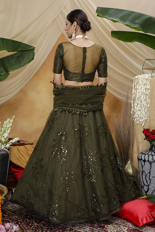Olive Color Thread Embroiered Lehenga Choli Collection (4)