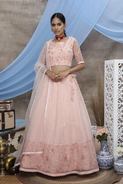 Peach Color Exclusive Designer Lehenga Choli Collection