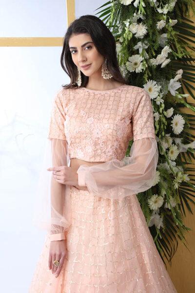 Peach Color With Net Fabric Sequnice Embroiered Lehenga Choli