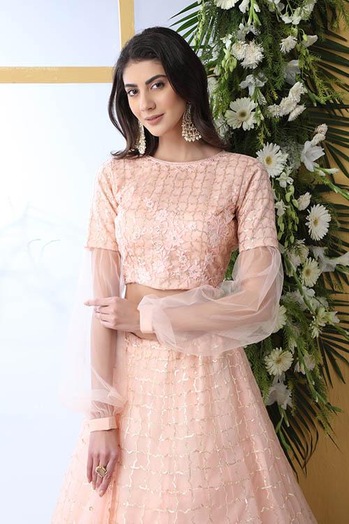 Peach Color With Net Fabric Sequnice Embroiered Lehenga Choli (2)