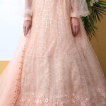 Peach Color With Net Fabric Sequnice Embroiered Lehenga Choli (1)