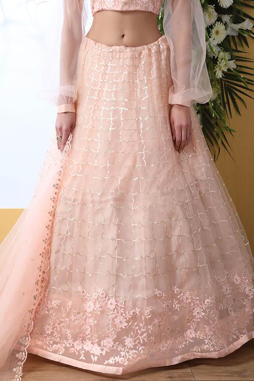 Peach Color With Net Fabric Sequnice Embroiered Lehenga Choli (3)