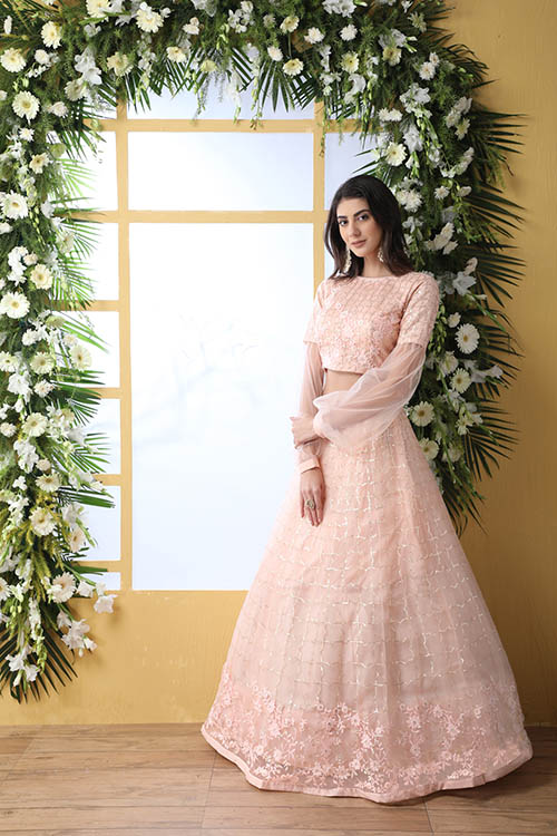 Peach Color With Net Fabric Sequnice Embroiered Lehenga Choli (4)