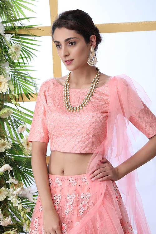 Peach Embroiered Work Lehenga Choli With Fancy Style Dupatta (3)