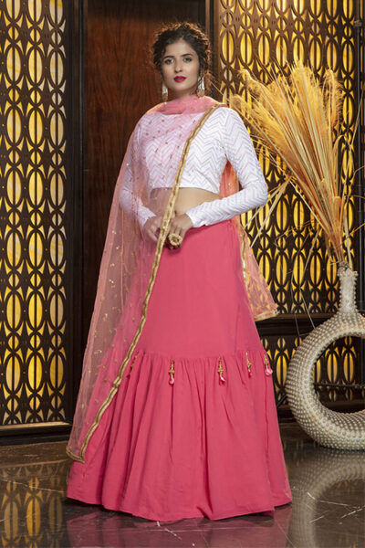 Pink Color Semi Stitched With Contrast Lehenga Choli Collection
