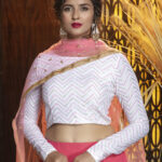 Pink Color Semi Stitched With Contrast Lehenga Choli Collection (1)