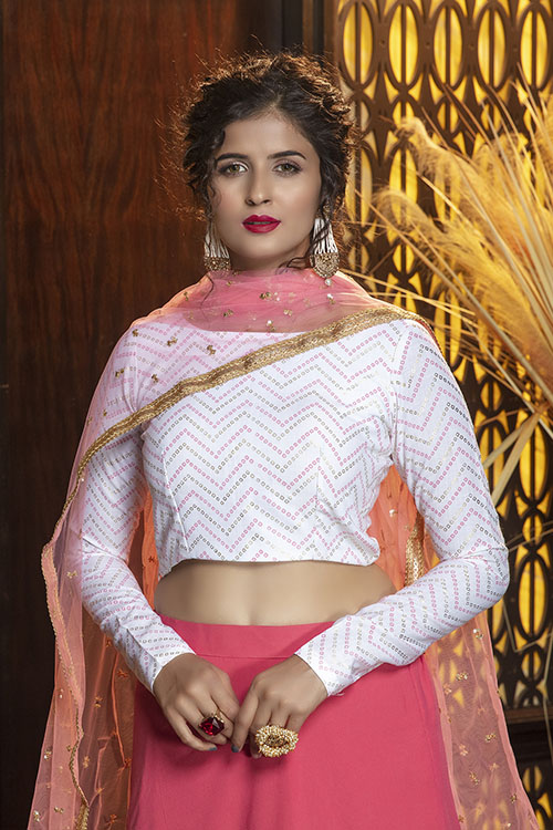 Pink Color Semi Stitched With Contrast Lehenga Choli Collection (2)