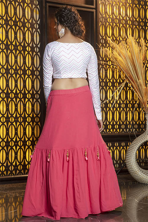 Pink Color Semi Stitched With Contrast Lehenga Choli Collection (3)