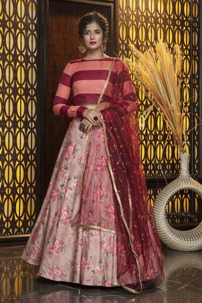 Pink Foil Printed Semi Stitched Lehenga Choli