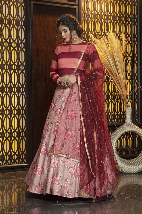 Pink Foil Printed Semi Stitched Lehenga Choli (3)