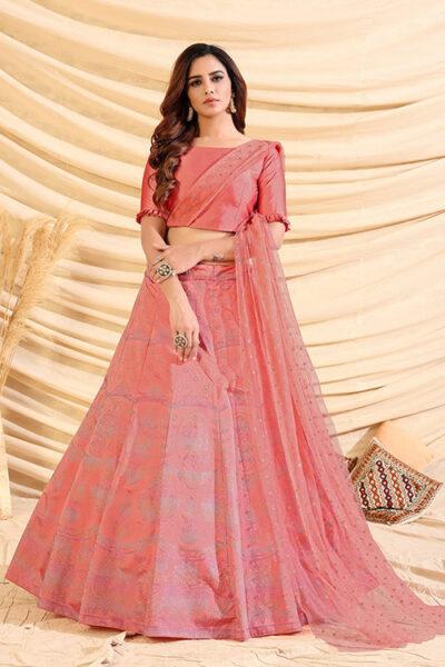 Pink Pigment Exclusive Foil Printed Lehenga Choli