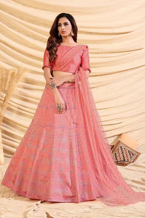 Pink Pigment Exclusive Foil Printed Lehenga Choli (2)