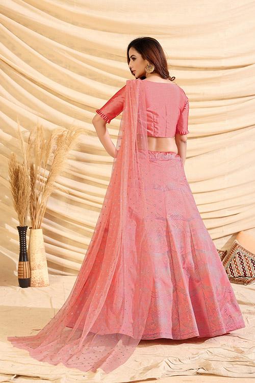 Pink Pigment Exclusive Foil Printed Lehenga Choli (4)