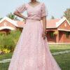 Pink Pigment Foil Work Semi Stitched Lehenga Choli