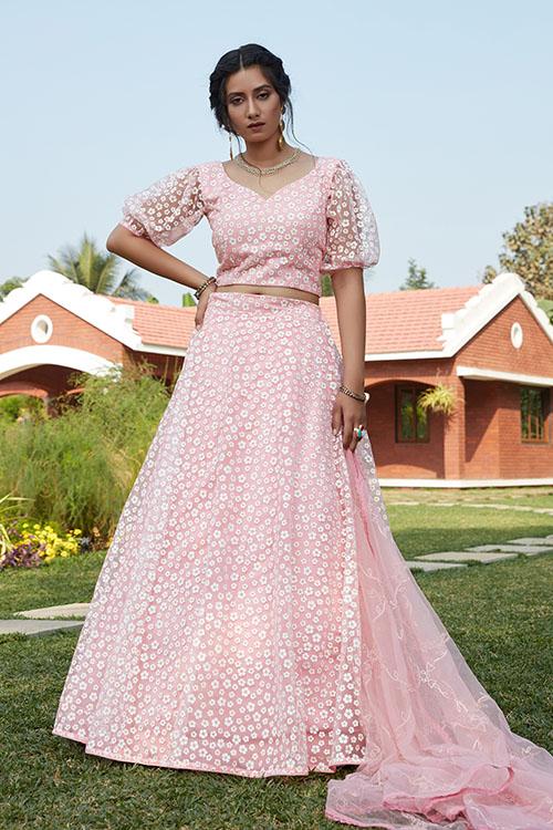Pink Pigment Foil Work Semi Stitched Lehenga Choli (1)