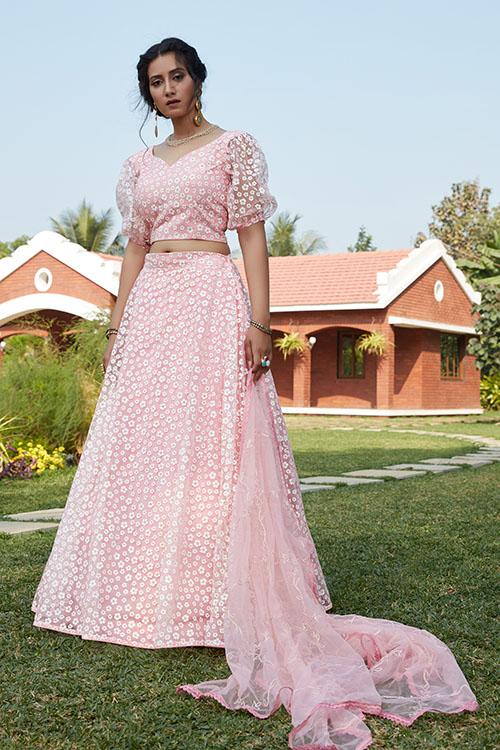 Pink Pigment Foil Work Semi Stitched Lehenga Choli (2)