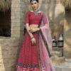 Red Color Printed Art Silk Lehenga Choli With Dupatta
