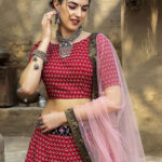 Red Color Printed Art Silk Lehenga Choli With Dupatta (1)