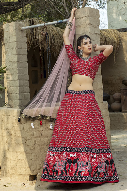 Red Color Printed Art Silk Lehenga Choli With Dupatta (3)