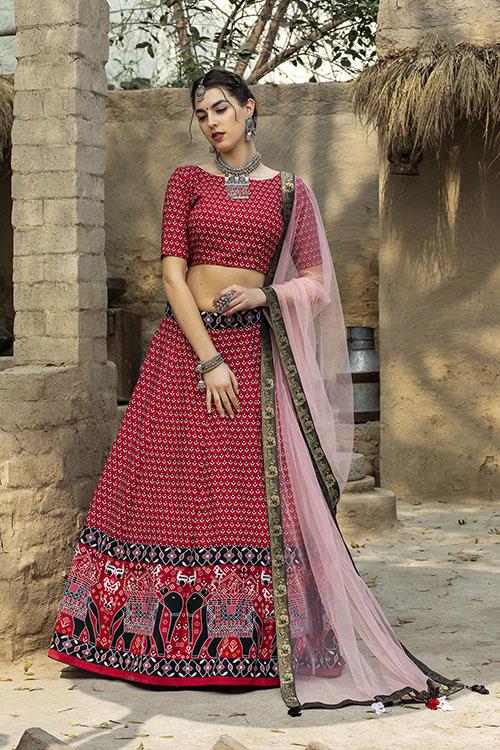Red Color Printed Art Silk Lehenga Choli With Dupatta (4)