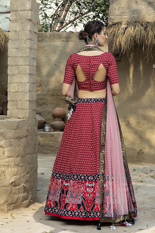 Red Color Printed Art Silk Lehenga Choli With Dupatta (5)